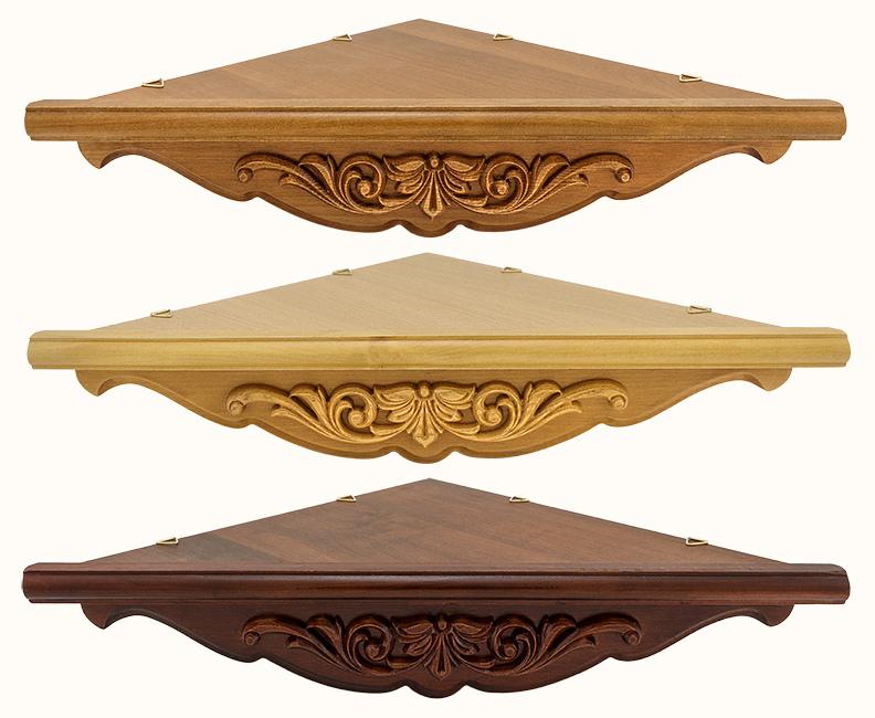 Угловые полки для икон :: Полка для икон деревянная угловая, 1-ярусная, малая, с резным узором Аппликация, 33 х 45 см, 18135-1