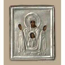 Знамение икона Божией Матери, Икона писаная (Кж) 7х9, риза, 19 век, фото 1