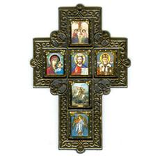 Крест пластмассовый (Нк) 9х14, шестиместный, с иконами, прямоугольный резной без стекла (уп-10шт), фото 1