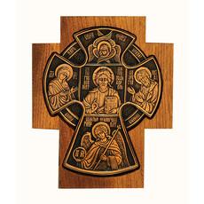 Крест металлогальваника (Ро) 11х14, Царь Славы, медь, фигурная четырехконечная деревянная основа, фото 1