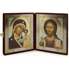 Складень бархатный (Ж) с иконами 18х24 (Сф), венчальная пара: Господь Вседержитель, Казанская икона Божией Матери, фото 1