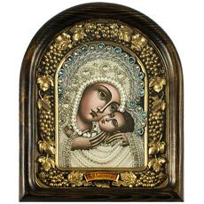 Икона в деревянной раме (Ож) 17х22, со стеклом, полиграфия, вышивка бисером, отделка камнями, подарочная коробка, фото 1