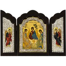 Складень деревянный (Аф) T32 21х32, Святая Троица, тройной, шелкография, посеребренная риза, фото 1