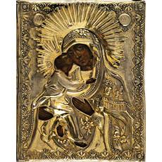 Владимирская икона Божией Матери. Икона писаная (Кж) 14х18, риза, 19 век, фото 1