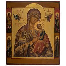Страстная икона Божией Матери. Икона писаная (Кж) 26х31, писаная на золоте, реставрация, с ковчегом, 19 век, фото 1