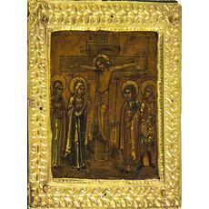 Голгофа. Икона писаная (Кж)  7х8,3, начало 19 века, фото 1