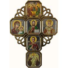 Крест пластмассовый (Ср)  8х11, шесть икон, со стеклом, на липучке (уп.20 шт.), фото 1