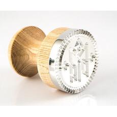 Печать для просфор Богородичная, диаметр 60 мм , из дюралюминия, с деревянной ручкой, фото 1