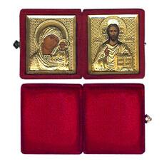 Складень бархатный (Ж) с иконами 6х7 в ризе, венчальная пара: Господь Вседержитель, Казанская икона Божией Матери, фото 1