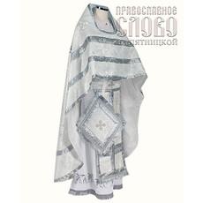 Облачение иерейское, белое с серебром, 90-145 шелк в ассортименте, фото 1