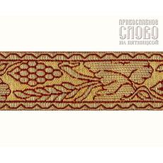 Галун Виноград бордо с золотом, 37 мм, гречески, фото 1