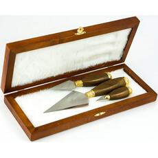 Копие, набор из 3 копий, серия №4: большого с гравировкой, среднего, малого, с деревянн. ручками и латунн. позолоч. фурнитурой, в дерев. коробке, фото 1