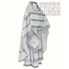 Облачение иерейское, белое с серебром, 90/150 шелк в ассортимент, фото 1