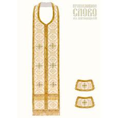 Требный комплект, белый с золотом, шелк в ассортименте, длина 150см, фото 1