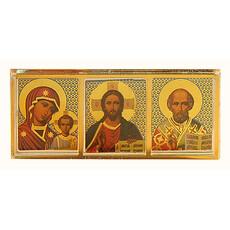 Икона на пластмассе (Ро)  6,5х2,7, тройная, малая новая, со стеклом, на скотче (уп-25шт), фото 1