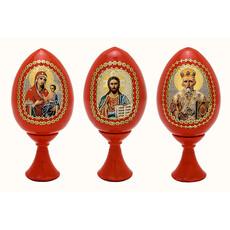 Яйцо пасхальное деревянное на подставке, с иконой, красное, высотой 7 см (без учета подставки), фото 1