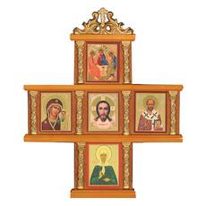 Крест с иконами (Мис)15х15 см., 5 икон 3х4, деревянный (Х25812309, Х240), фото 1