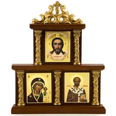 Икона в киоте (Мис) 11х13 см.(иконы 3х4 см.), тройная, с лепниной (Х84), фото 1