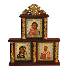 Икона в киоте (Мис)  6х9 см.(с киотом 17х22 см.), тройная, с лепниной (Х78), фото 1