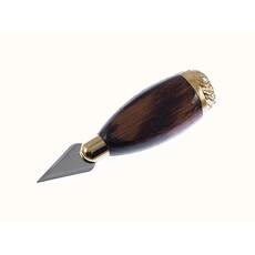 Копие малое, серия №4, с деревянной резной короткой ручкой, с литой латунной позолоченной фурнитурой, длиной 10 см, с лезвием 3 х 1,5 см, фото 1