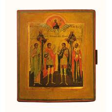 Избранные Святые. Икона писаная (Кж) 15,5х18, двойной ковчег, 19 век, фото 1