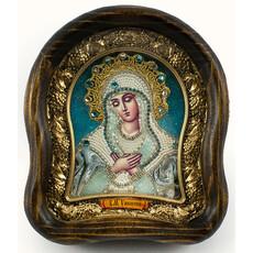 Икона в деревянной раме (Ож) 15х17, со стеклом, полиграфия, вышивка бисером, отделка камнями, подарочная коробка, фото 1