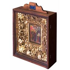 Явление Божией Матери преподобному Сергию Радонежскому. Икона писаная (Кзр) 12х17, в киоте, с лепниной и навершием, реставрация, 19 век, фото 1
