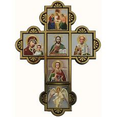 Крест пластмассовый (Ср) 13х18, шесть икон, без стекла, на липучке (уп.10 шт.), фото 1