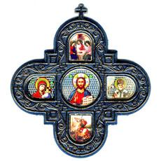 Крест пластмассовый (Нк) 10х11, пять икон, золотое напыление, стекло (уп.10шт., фото 1