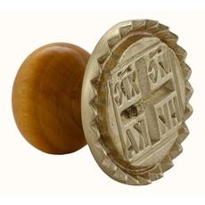 Печать для просфор Агничная, диаметр 48 мм , латунная, с зубчатой каймой, с деревянной ручкой, П.П.10.2, фото 1