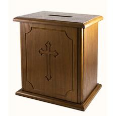Кружка-ящик для пожертвований деревянная большая, мдф, шпон дуба, 30 х 24 х 18 см, 127001, фото 1