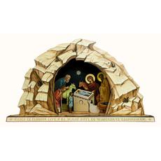 Вертеп рождественский из пластика, большой, с резными плоскими фигурами, с цветными литографическими изображениями, высотой 72 см, фото 1