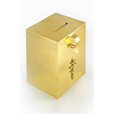 Кружка-ящик для пожертвований латунная прямоугольная, высотой 20 см, фото 1