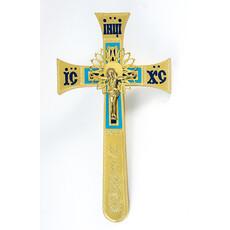 Крест напрестольный из латуни, с накладным распятием, четырехконечный Секирообразный, с гравировкой и эмалью, выс. 32 см, № 13, фото 1