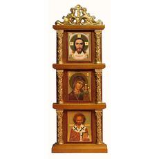 Икона в киоте (Мис) 3х4 см.(с киотом 6х18 см.), киот тройной, вертикальный, деревянный (Х406), фото 1
