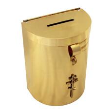 Кружка-ящик для пожертвований латунная полукруглая малая, фото 1