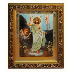 Икона в раме (Мк) 19х22, конгревное тиснение, багет деревянный (В), под стеклом, фото 1