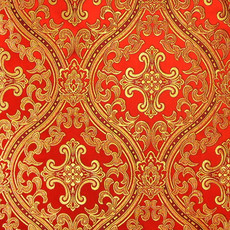 Парча,  греческая красная Русский Афон, ширина 150 с, фото 1