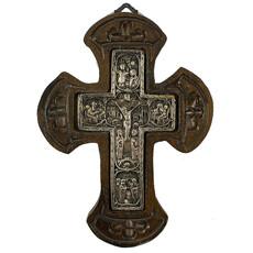 Крест металлогальваника (Нпл) 10х14, E 201, серебрение, деревянная основа, фото 1