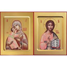 Фото: Венчальная пара икон Спас Вседержитель (арт.108) и Божия Матерь Владимирская (арт.208)