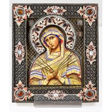 Фото: Семистрельная икона Божией Матери. Ростовская финифть. (арт.14299)