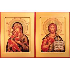 Фото: Венчальная пара икон Спас Вседержитель (арт.104) и Божия Матерь Владимирская (арт.204)